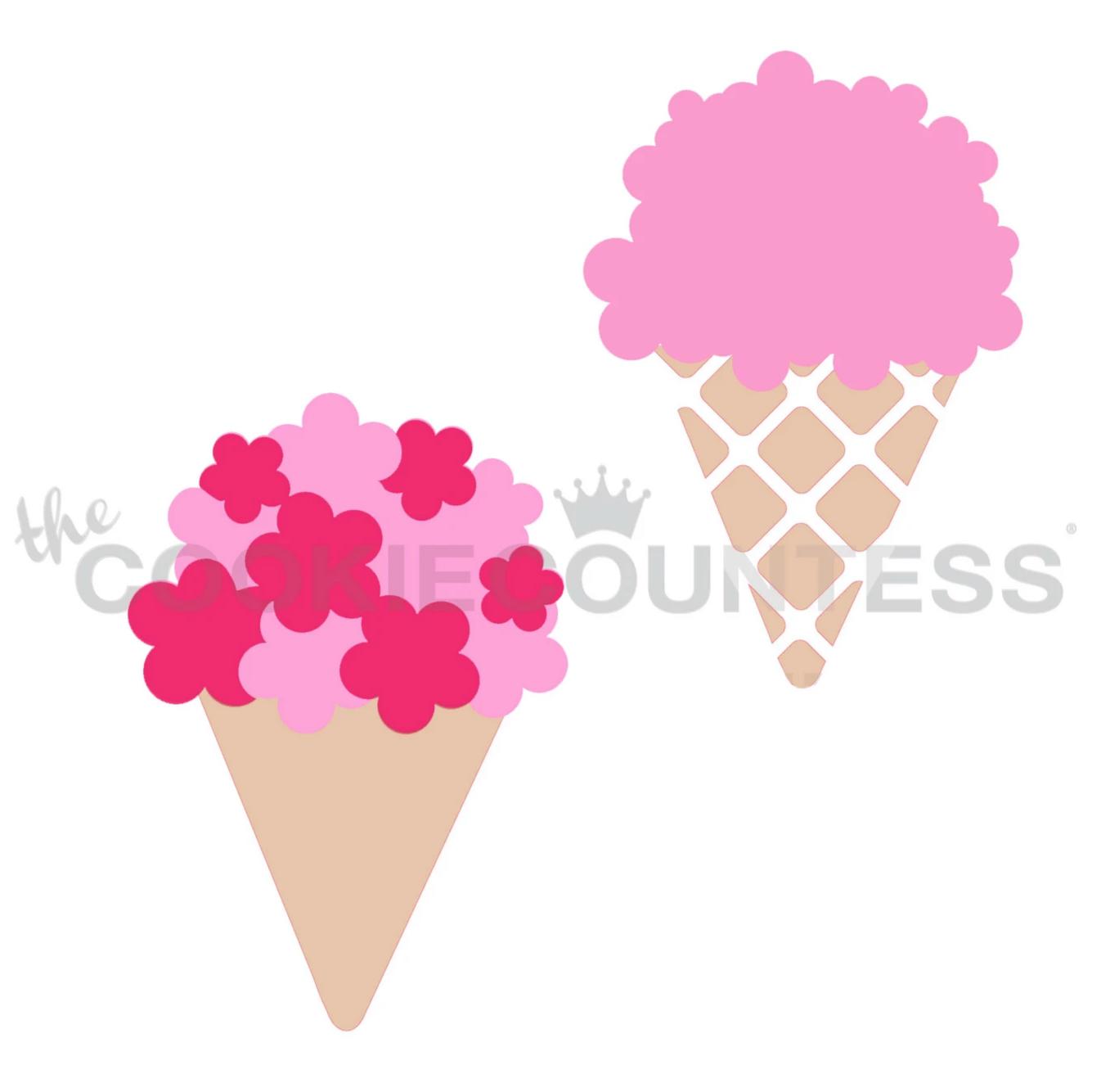 Bouquet or Ice Cream Cookie Stencil Set