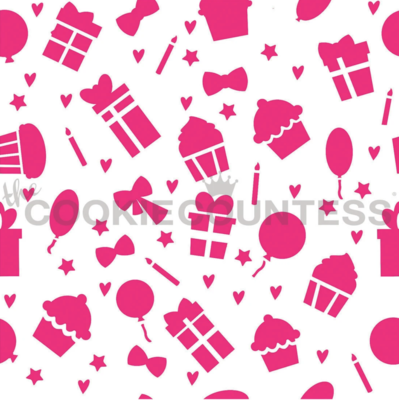 Birthday Icons Pattern Stencil by Cookie Countess