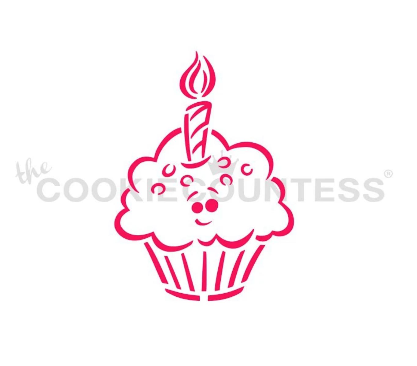 Birthday Cupcake PYO Stencil by Cookie Countess