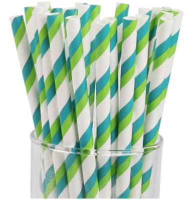 Striped Paper Straws - Blue & Green