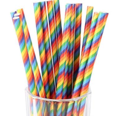 Striped Paper Straws - Rainbow Stripes