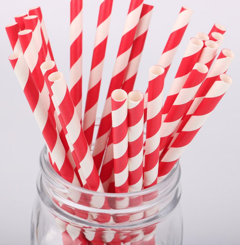 Striped Paper Straws- Red