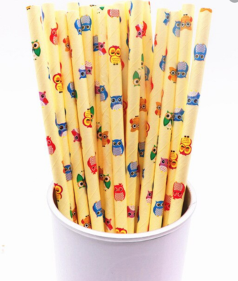 Paper Straws - Yellow with Owls