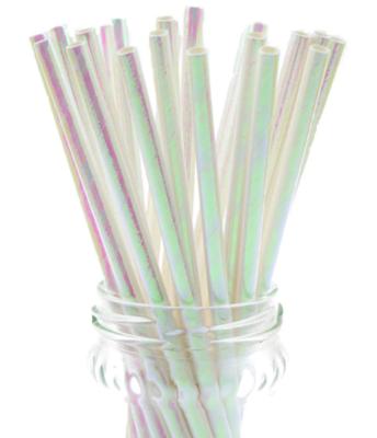 Paper Straws - Iridescent White