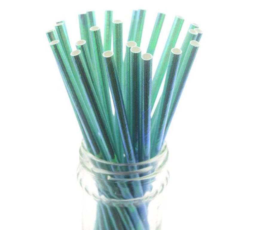 Paper Straws - Iridescent Light Green