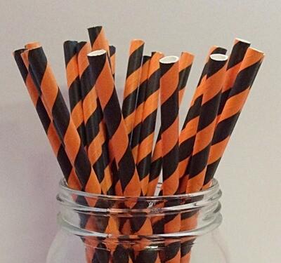 Striped Paper Straws - Orange & Black