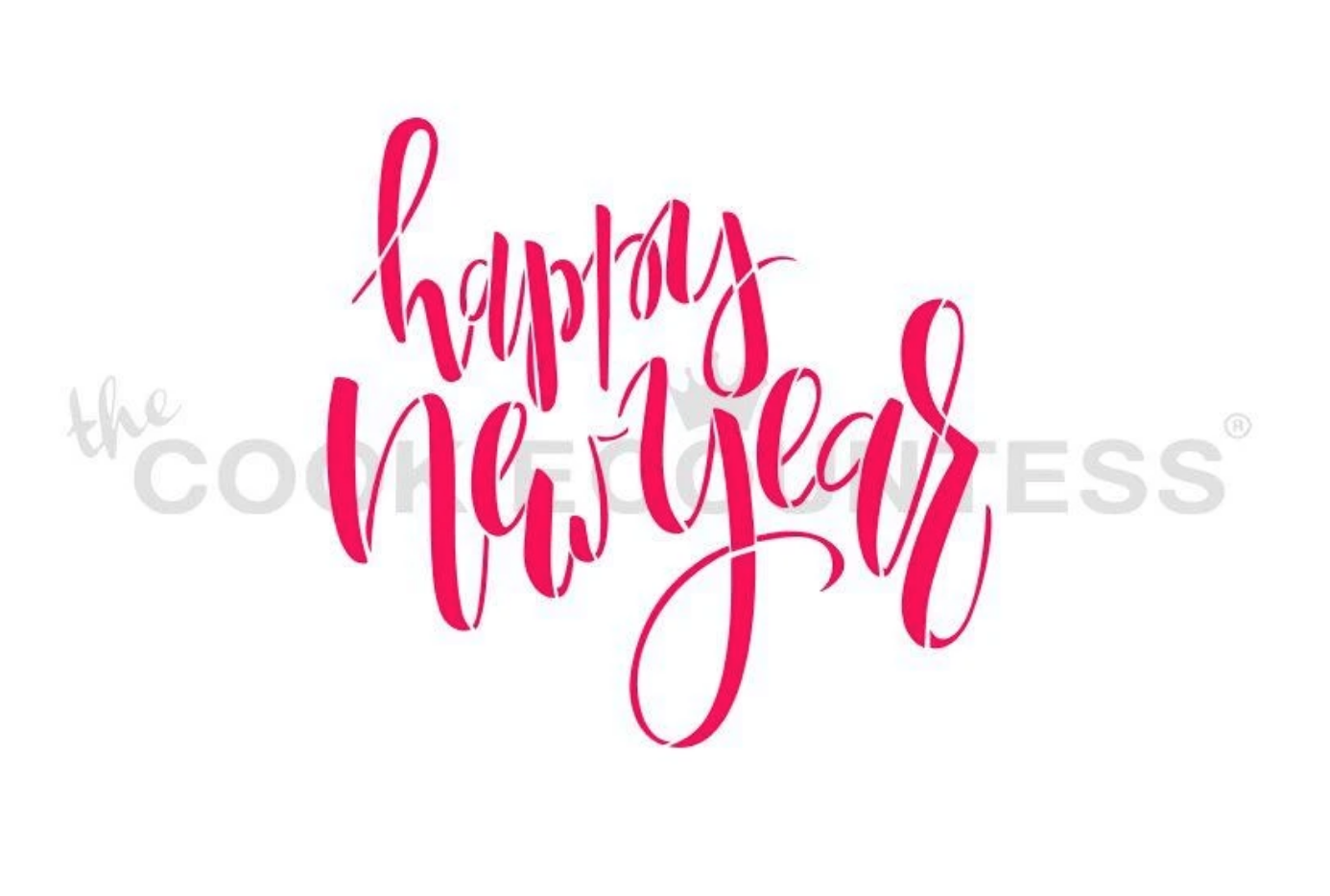 Happy New Year Script Stencil by Cookie Countess