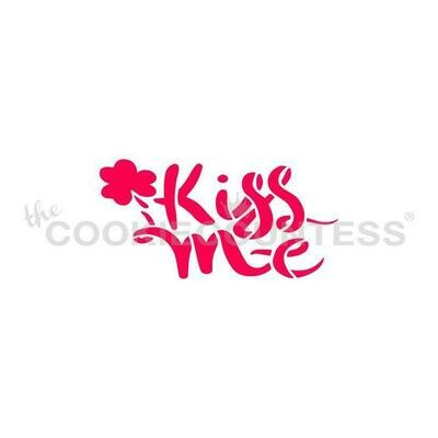 Kiss Me Script Stencil by Cookie Countess