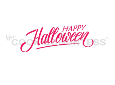 Happy Halloween Script Stencil by Cookie Countess