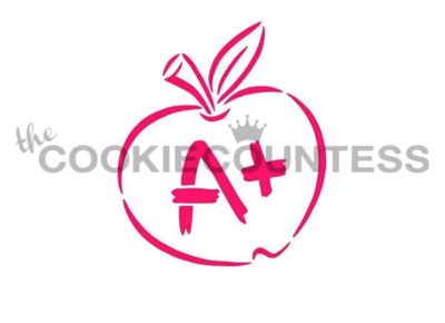 A+ Apple Stencil by Cookie Countess