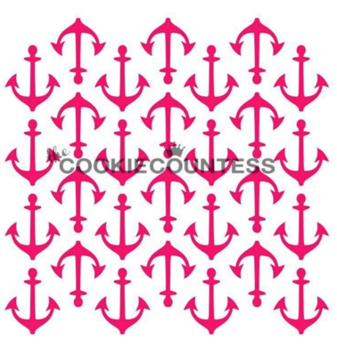Anchors Background Stencil by Cookie Countess