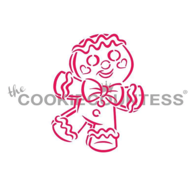 Happy Gingerbread Man PYO Stencil by Cookie Countess