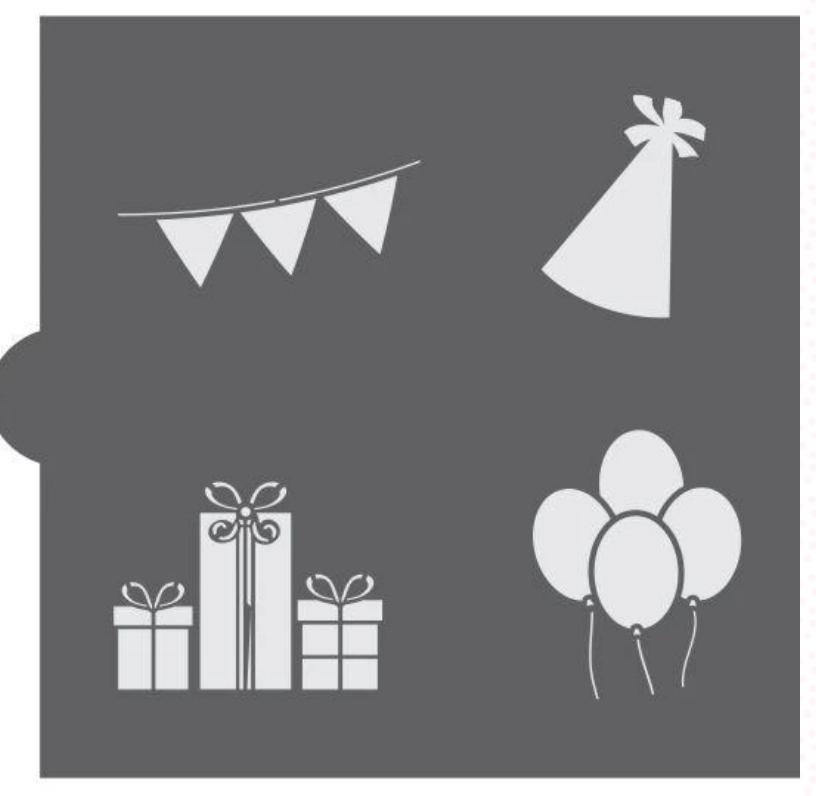 Birthday Party Accent Cookie Stencil