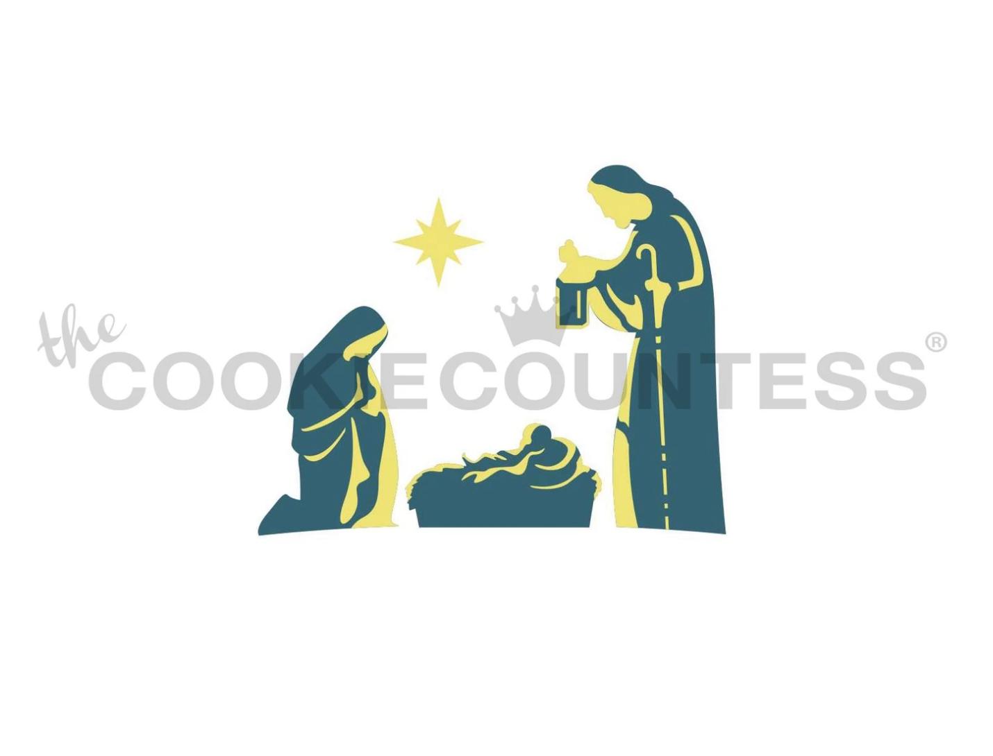 Nativity Scene Stencil by Cookie Countess - 2 Piece
