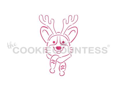 Christmas Corgi PYO Stencil by Cookie Countess