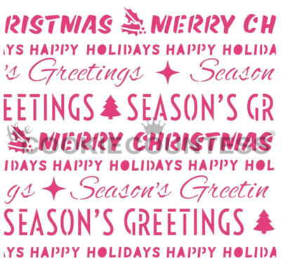 Christmas Word Wrapping Stencil by Cookie Countess