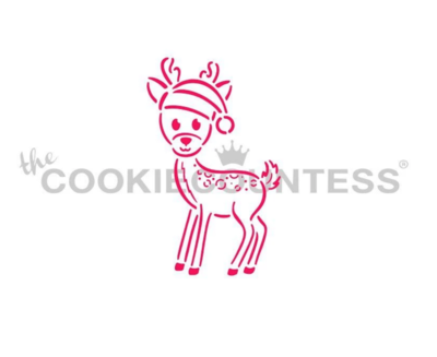 Little Deer in a Santa Hat PYO Stencil by Cookie Countess