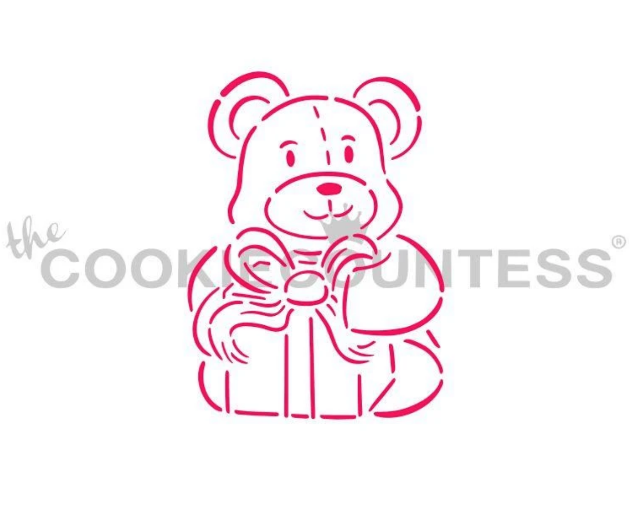 Teddy Bear with Gift PYO Stencil by Cookie Countess