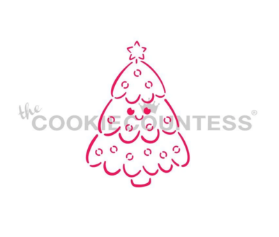 Smiling Christmas Tree PYO Stencil by Cookie Countess
