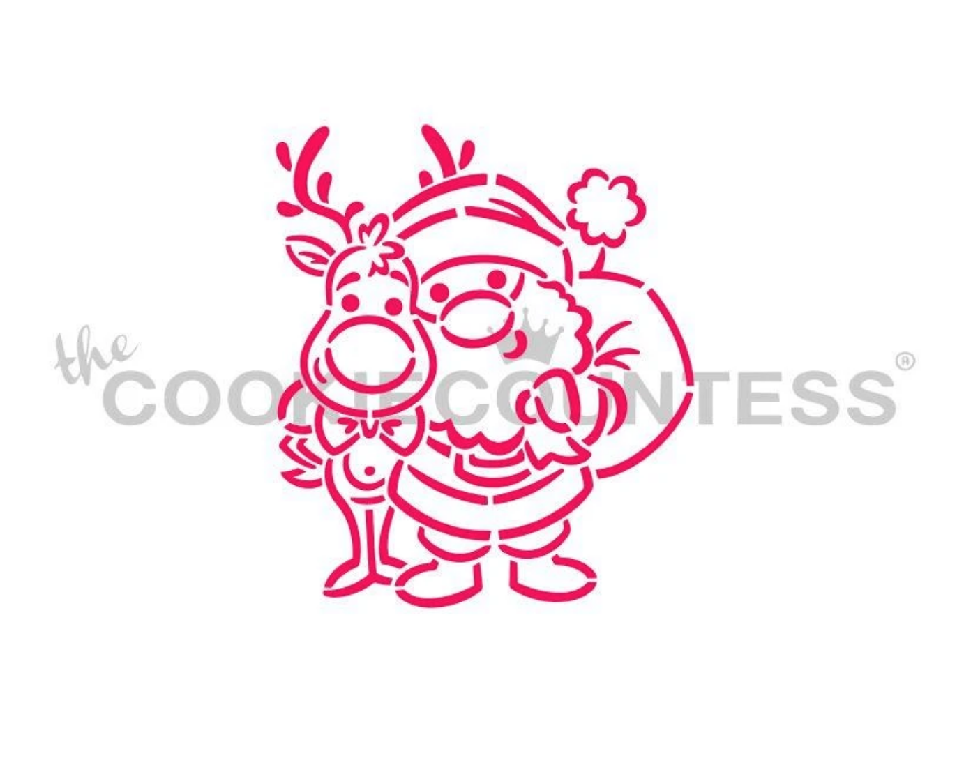 Santa and Rudolph PYO Stencil by Cookie Countess