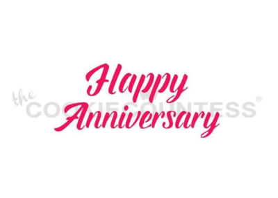 Happy Anniversary Stencil by Cookie Countess - 2 Piece
