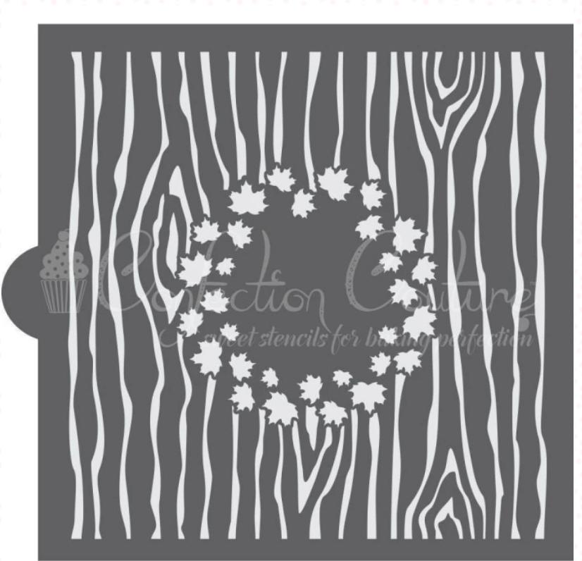 Autumn Maple Monogram Background Cookie Stencil