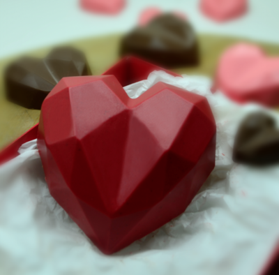 Faceted Heart - 200 Grams - 3 Part Mold