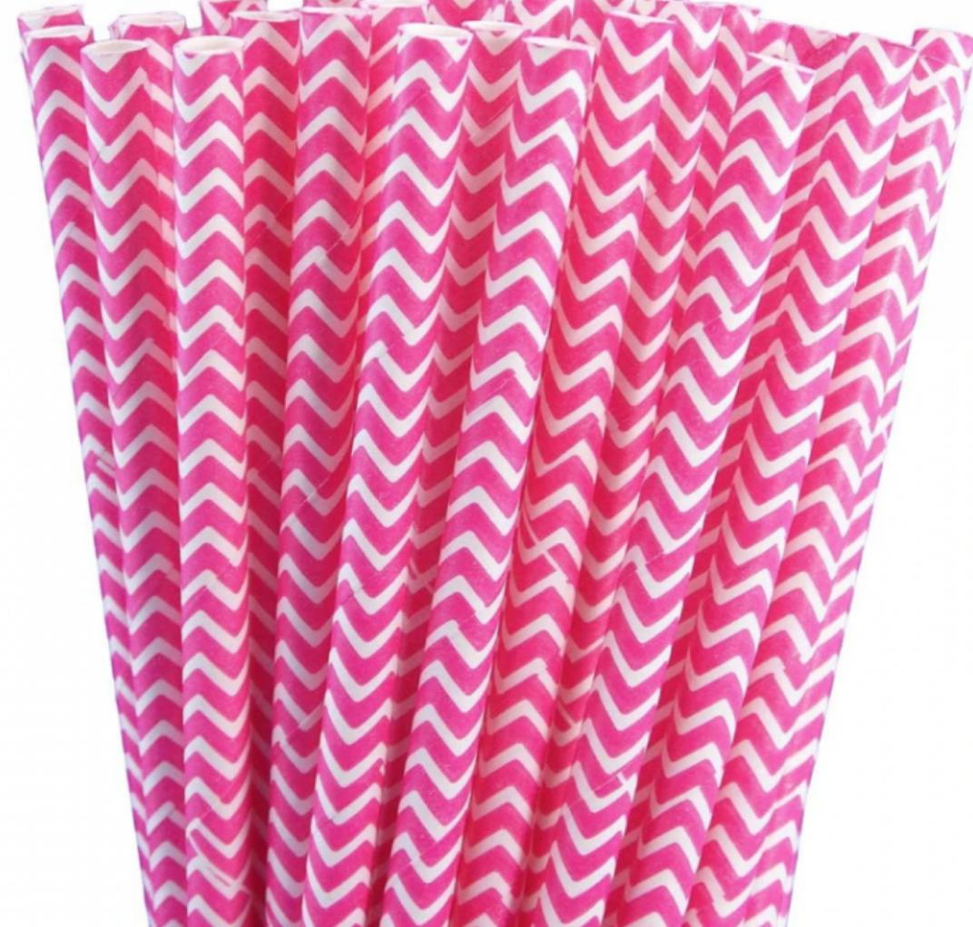 Pink and White Chevron Paper Straws