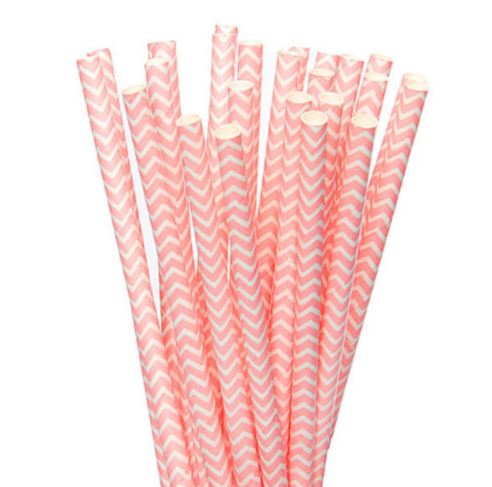 Light Pink and White Chevron Paper Straws