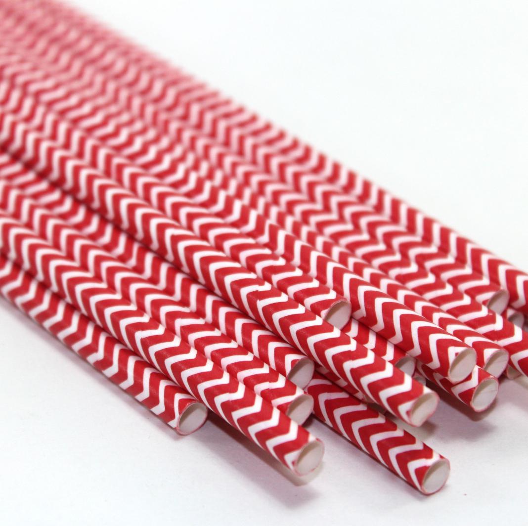 Red and White Chevron Paper Straws