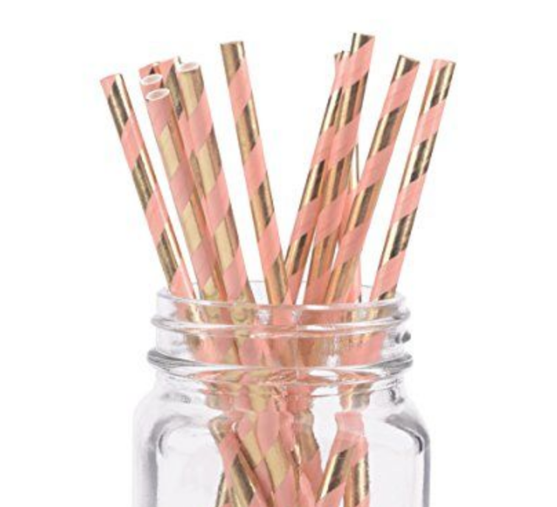 Striped Paper Straws - Pink & Gold