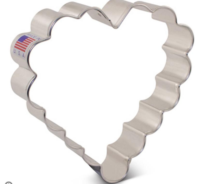 "Scalloped Heart Cookie Cutter - 4"""