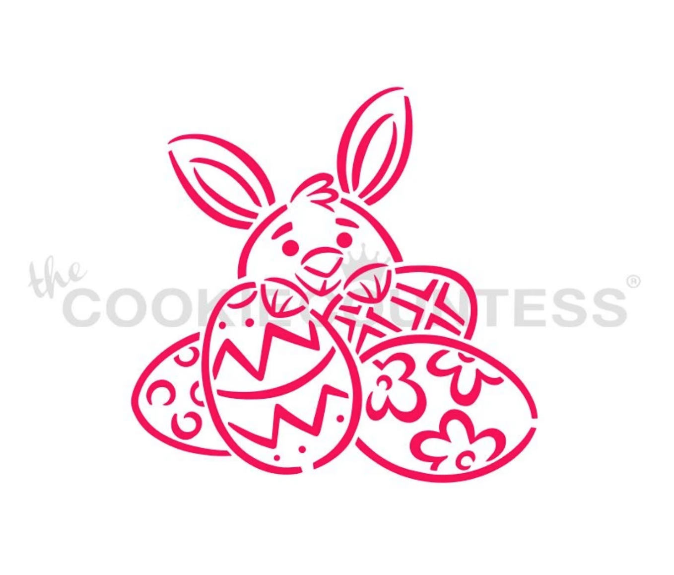 Bunny Behind Egg PYO Cookie Stencil by Cookie Countess