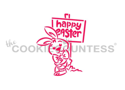 Bunny Leaning by Sign PYO Stencil - By Cookie Countess