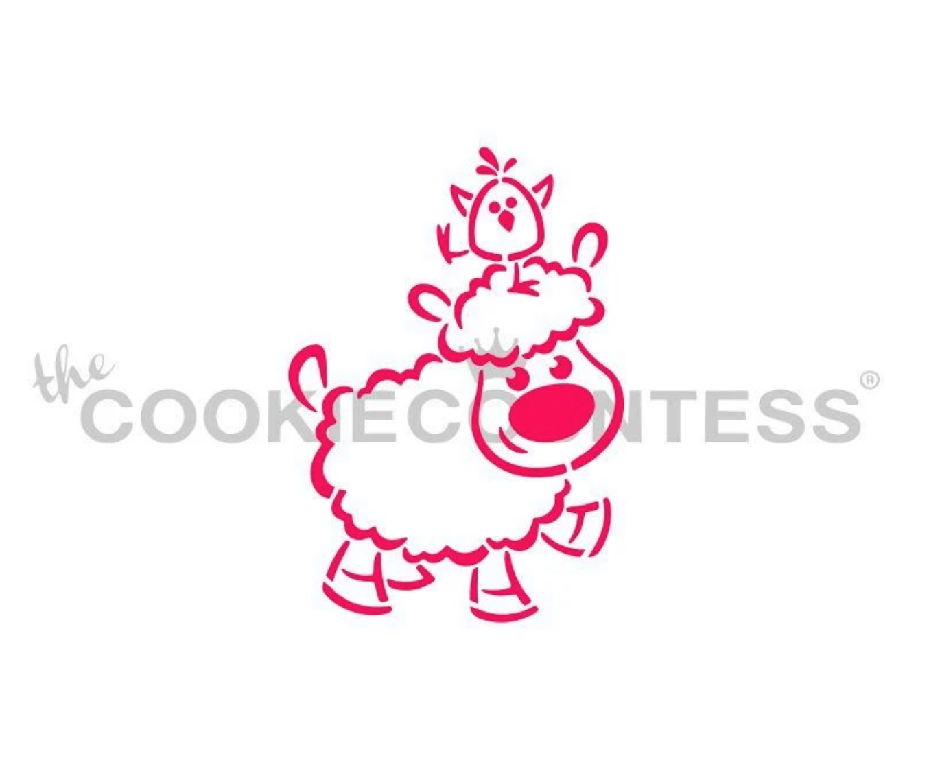 Lamb with Chick on Head Stencil by Cookie Countess