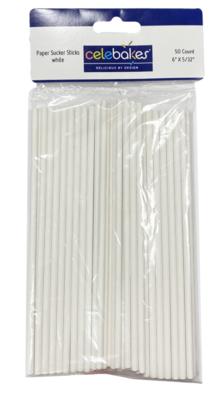 Celebakes White Paper Suckersticks, 6