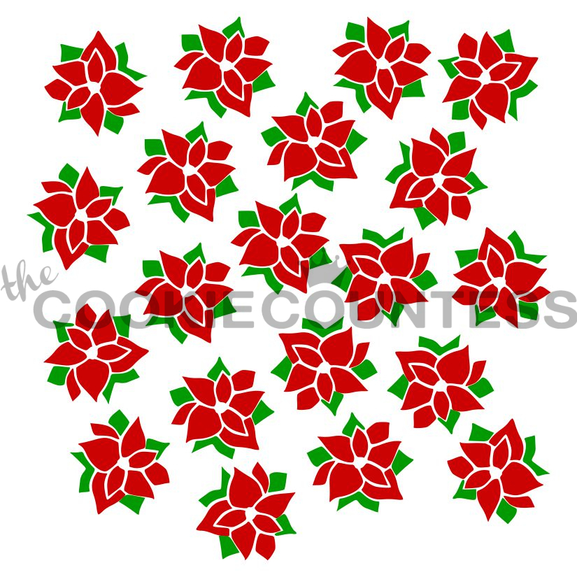 2 piece Pointsettia Stencil - 2 piece set by Cookie Countess