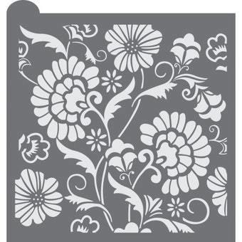 Bold Floral Background Stencil