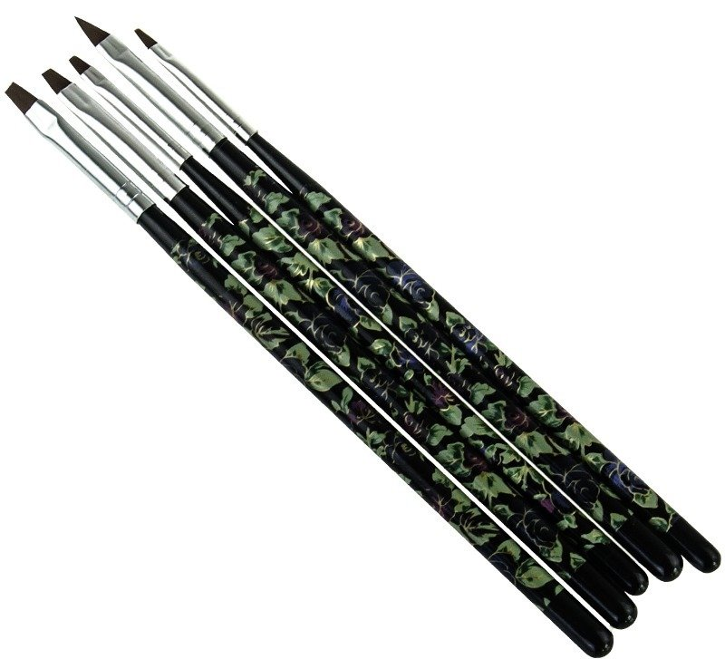 5 Piece Floral Brush Set - Black