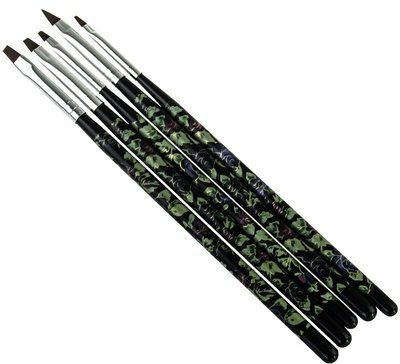 5 Piece Floral Brush Set - Black