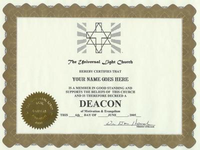 FREE! Deacon Certificate