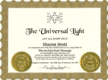 The Universal Light's Exclusive Physio/Spiritual Massage Certificate