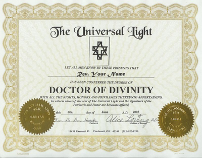 Accredited Doctorate of Divinity - FREE Minister Ordination included!