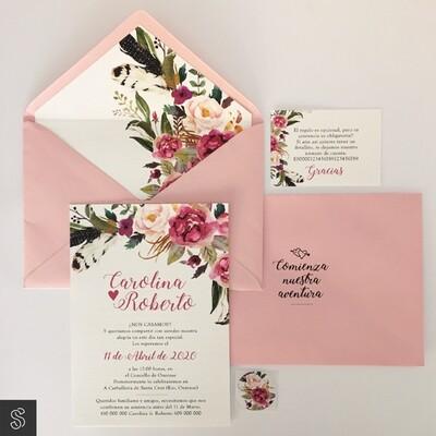 Invitaciones Flores Rosas (A5)
