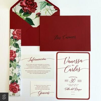 Invitaciones Rosa Roja (A5)