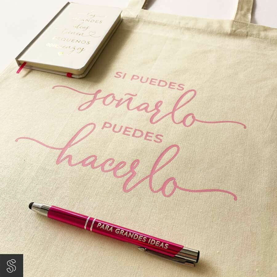 Pack MOTIVADOR bolsa de tela + libreta + bolígrafo