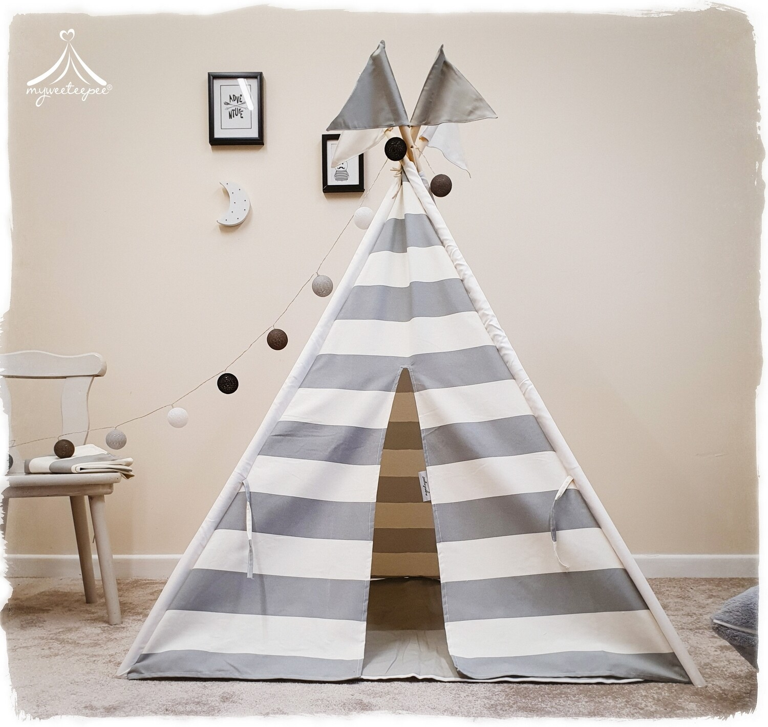 Grey & White Stripe Teepee - Limited Edition