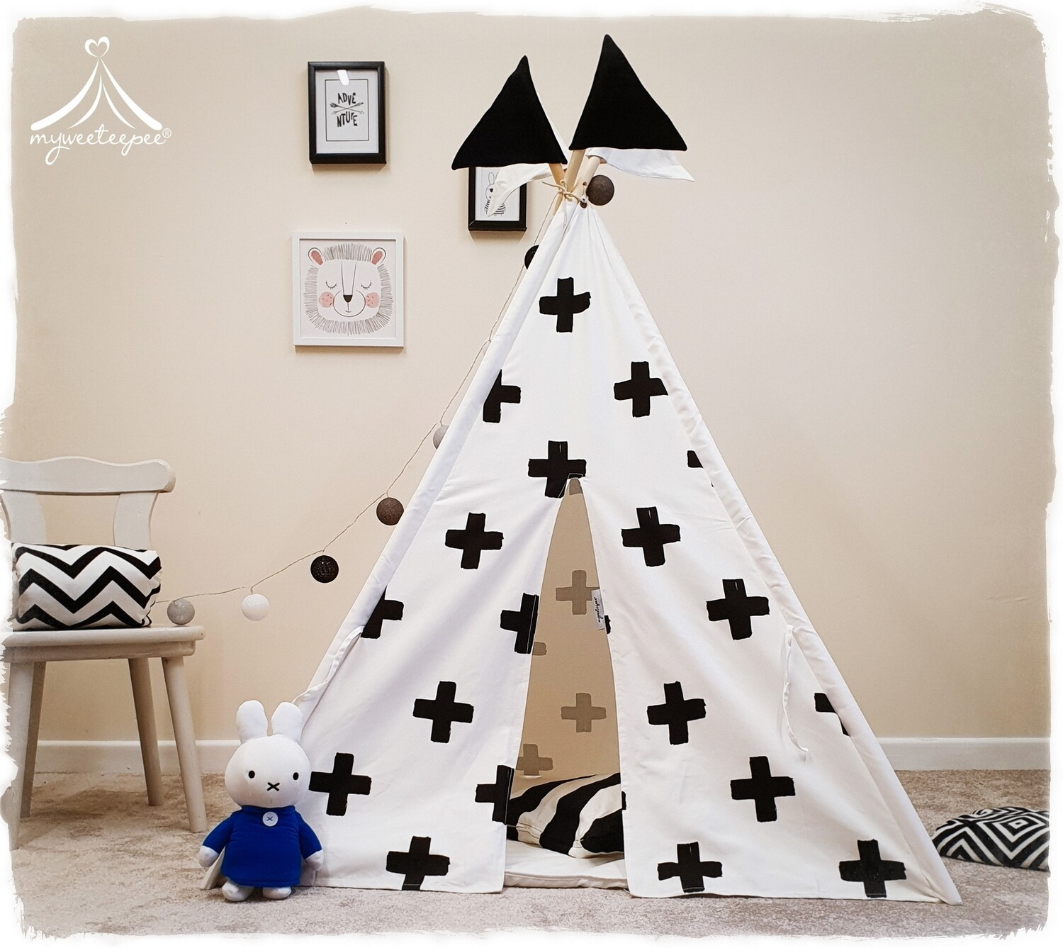 Black & White Cross Teepee - SPECIAL OFFER