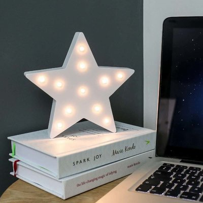Wooden 'Star' Battery Light Up Circus Letter, Warm White LEDs, 16cm