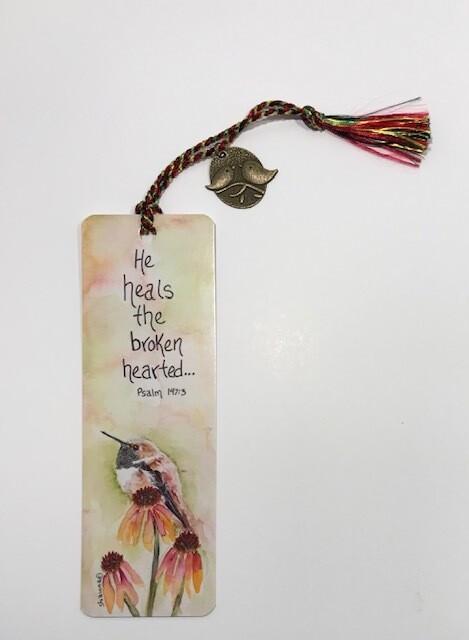 Hummingbird on Flower Bookmark